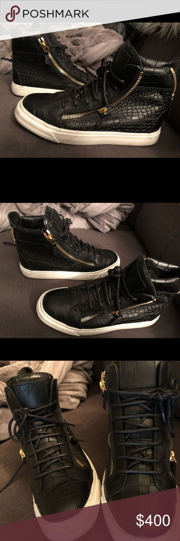 Black python calfskin high tops Black ladies high top sneakers with Gold accent zippers Giuseppe Zanotti Shoes Sneakers