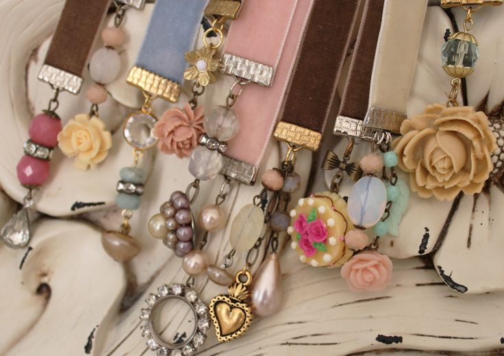Bookmarks made from vintage velvet ribbon and jewelry from one of my favorite blog sites