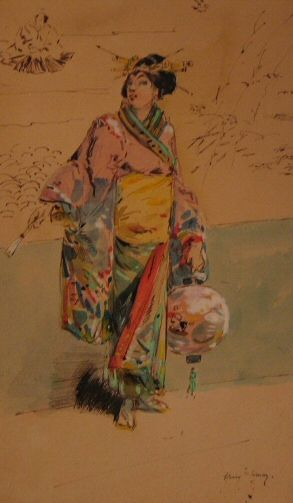 François Clément Sommier, called Henry Somm (Rouen 1844-Paris 1907)  A Japanese Lady Holding a Lantern  Signed 'Henry Somm'