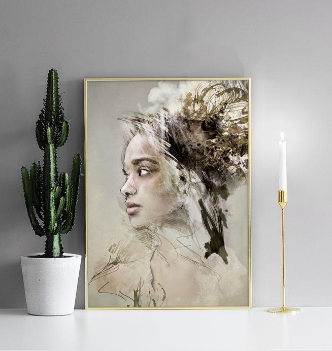 Posters, affischer med modern konst, 50x70. Kvinnoansikte