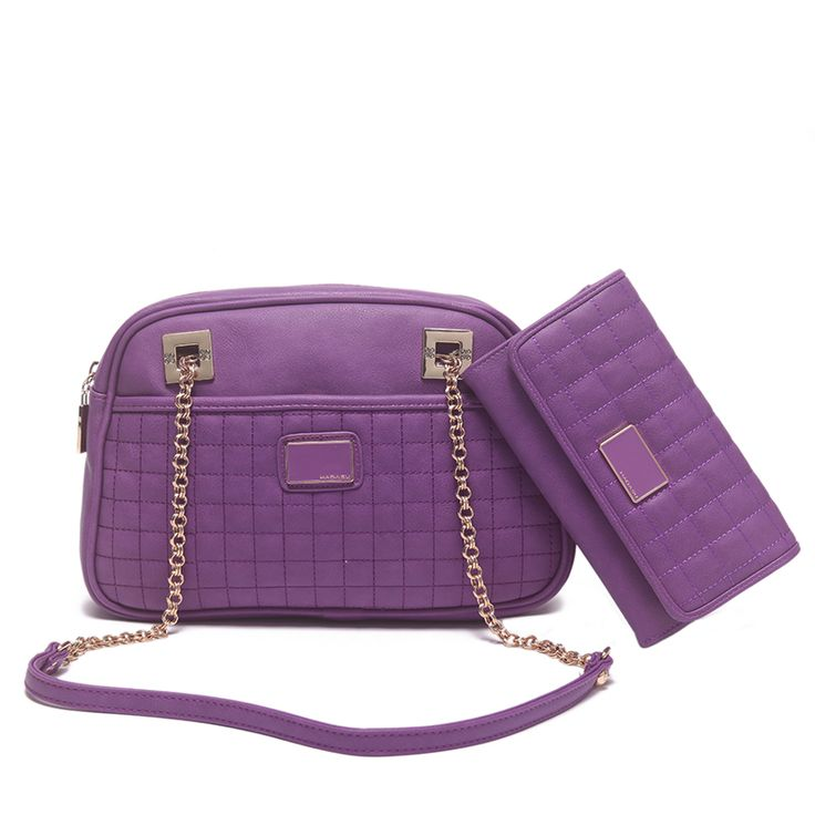 "Hadasu - 2 Pcs Set PU Leather  Quilted Patent Side Sholder Chain Handle, Midum/Small size bag, with Matching Wallet  Fashion Structured Women Handbag Purse and Coin Wallet    Color:Purple  Handbags Size:  Width:13""/32cm  Height:9""/23cm  Depth:2.5""/7cm Handle  Drop:17""/44cm    Wallet Size:  Width:7.7""/19.5cm  Height:4.5""/12cm  Depth:1.4""/3.7cm  Light Gold tone hardware"