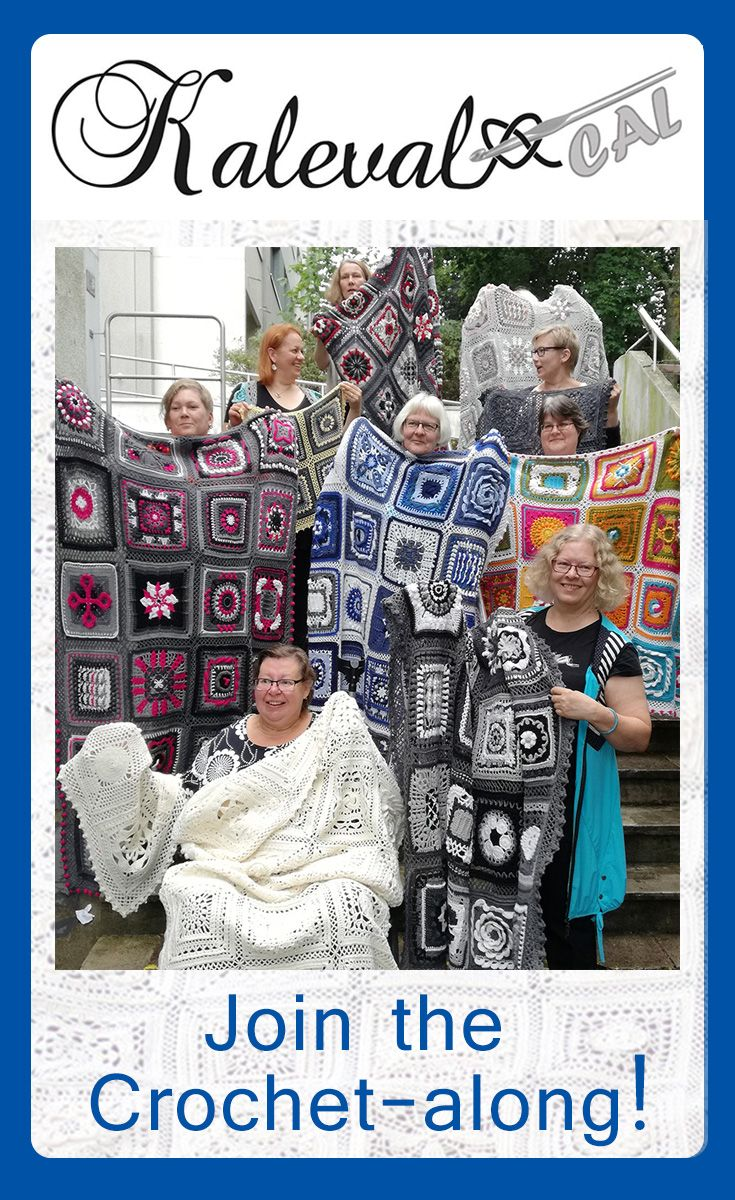Kalevala CAL crochet-along. Create your own Kalevala blanket, designed by a group of Finnish crochet designers. The afghans in the photo all have the same free pattern but look very different in different colours. Patterns in 8 languages. #crochet #crochetblanket