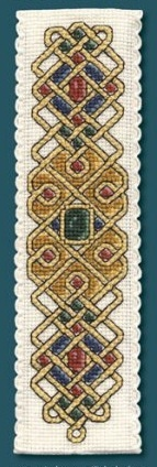 Counted cross stitch - a Celtic Jewel Bookmark I made. I bought the kit in England as from the Textile Heritage collection.
