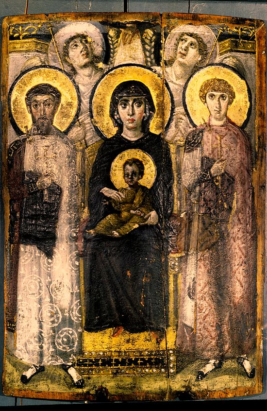 """Virgin and Child Enthroned between St. Theodore and St. George; c. 6th century; Panel painting; 27 x 18 7/8""""; The angels in the back look up at the heavens, while God reaches down with one hand, sending a beam of light shining down upon the tableau. This beam of light, together with the haloes, form a cross."""