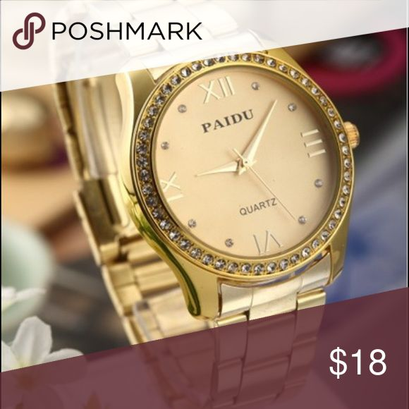Gold Watch. Limited time. Gold fashion watch. Material: stainless steel strip and case. Just as seen in the picture. Band length: 8inch Accessories Watches
