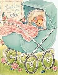 Vintage baby congratulations greeting crd. would love to make a blanket like this