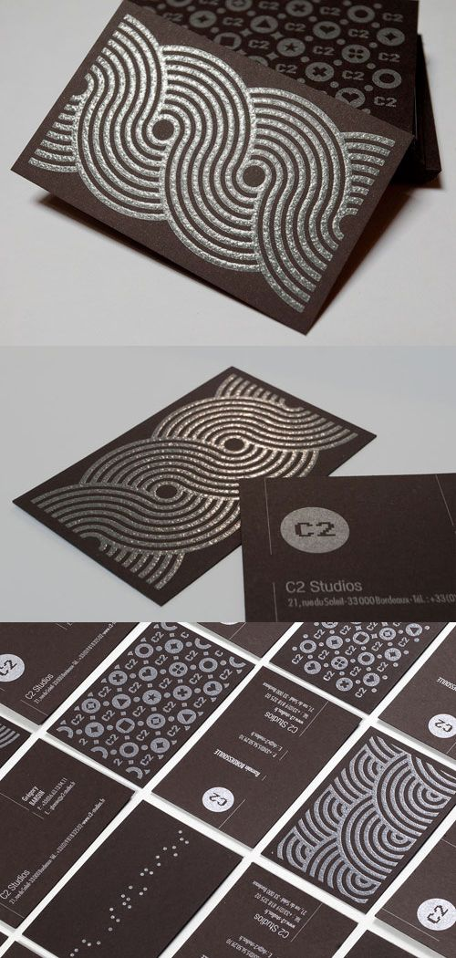 "C2 Studios Card    Add This Card to your Blog (Copy & Paste)     07.08.11  C2 Studios Card    Beautifully designed identity cards for C2 Studios.  The cards were printed on ""Pop'set Old Brown"" paper 400gr.    We chose the metallic pantone 877, reinforced on the back with a thermographic process on the pattern.    By C2 Studios    For C2 Studios      		        StumbleUpon      del.icio.us"