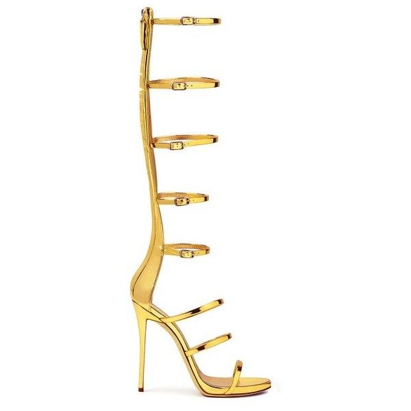 Giuseppe Zanotti Super Harmony ($648) ❤ liked on Polyvore featuring shoes, sandals, gold, giuseppe zanotti sandals, high-heel gladiator sandals, gold strappy sandals, gold platform sandals and strap sandals