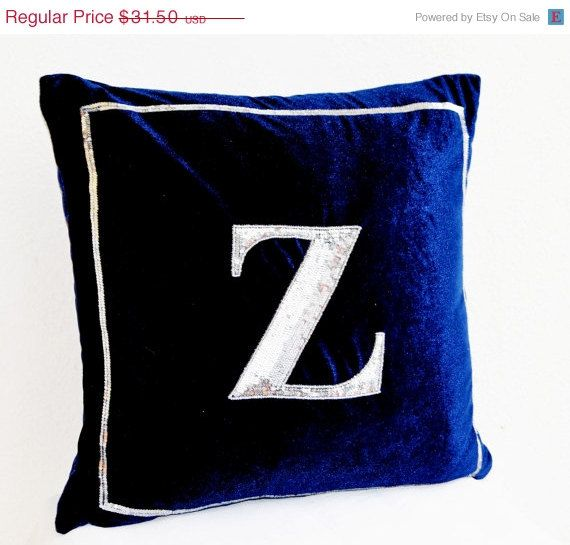 10 OFF Navy Blue pillow  Monogram pillow  Silver by AmoreBeaute