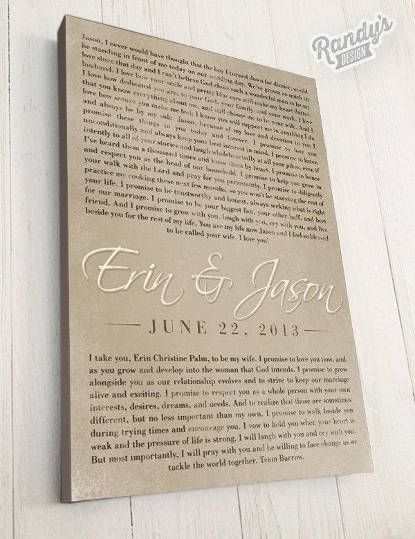 Gift For Wife Personalized Cotton Anniversary Canvas Art Your Wedding Vows