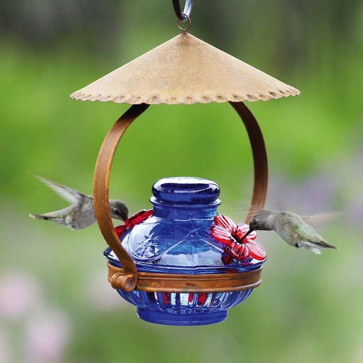 A rustic tin cupola shelters this Pot de Creme hummingbird feeder from Parasol. This hummingbird feeder is handmade from recycled glass and offered in blue glass with red flower feeding tubes. Holds 6 oz. of nectar.