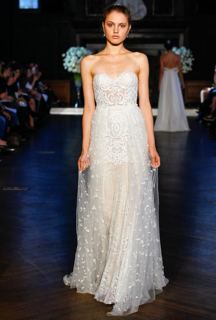 Alon Livne Fall 2016 strapless netted bodice and lace wedding dress | https://www.theknot.com/content/alon-livne-wedding-dresses-bridal-fashion-week-fall-2016