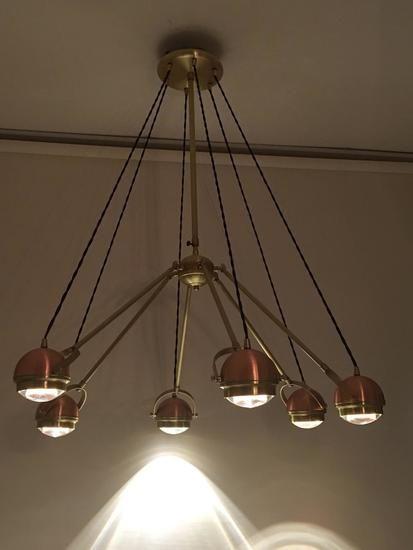6 arm copper suspension light. Discover @Treniq