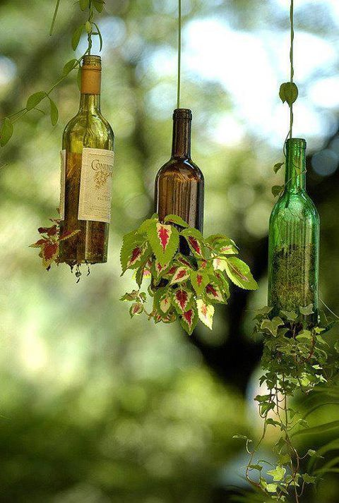 The Cottage House instructions say: Go to your craft store and buy a bottle cutter, cut the bottom off and fill half full of soil, then place in plants, water and let lay {down} for 5 days or more, the roots will expand and hold in the soil, hang with a wire and water thru the top!