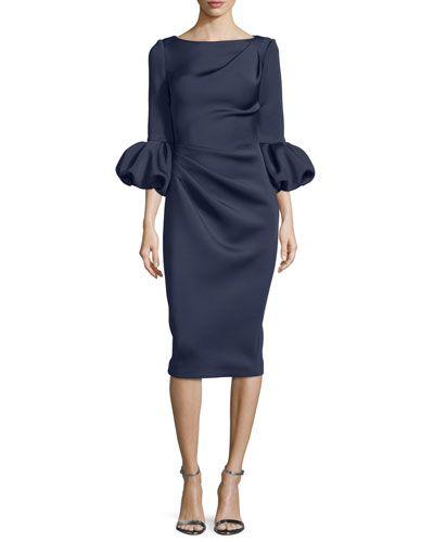 Puffy-Sleeve Pleated-Front Sheath Dress