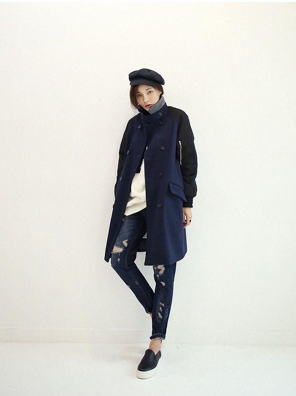 패딩소매배색워머넥코트 : 슈가펀 #coat