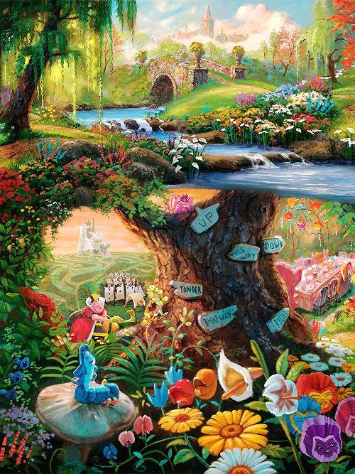 1k art disney minun virkaa Liisa Ihmemaassa uutiset maalauksia Thomas Kinkade Disneyedit aliceinwonderlandedit Thomas Kinkade Studios