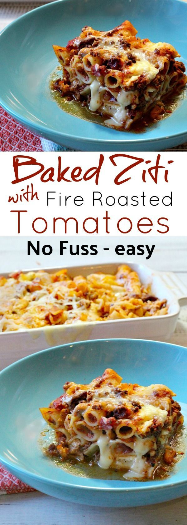 This is an easy cheesy no fuss recipe for baked ziti with fire roasted tomatoes. Simple with cheese, tomatoes, pasta, ground beef and zucchini. Great for make ahead and will freeze well. #ziti #baked #casserole  via @lannisam