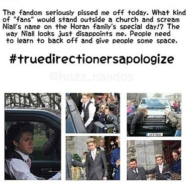 #truedirectionersapologize xx i'm really sorry Niall & Especially Greg and his wife. Poor thing has probably never experienced fangirls.