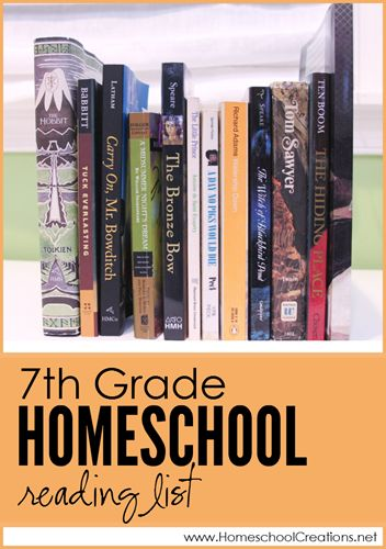 7th grade homeschool reading list - book choices for the year  Homeschool Creations