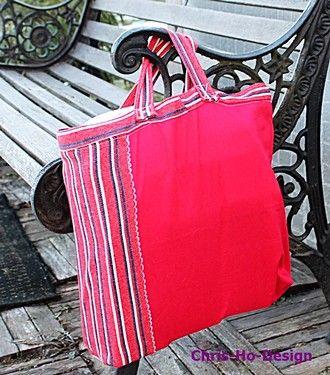 Bagg/handlenett i rødt m/rødt, hvitt og blått. - Chris-Ho.com