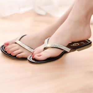 Crystal Strap Thong Sandals