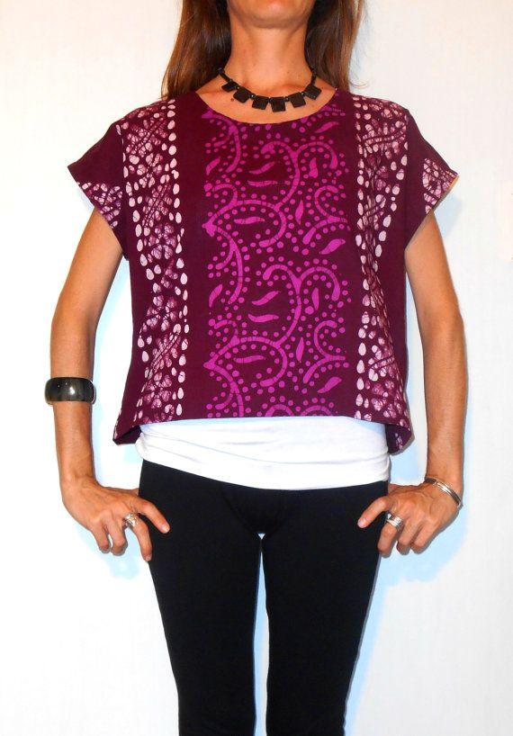 #Handmade #ethnic #shortblouse #shirt #indianfabric #tribal #plum #purple #batik #printed di #ITINLab