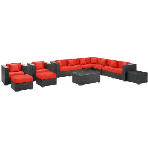 East End Imports Cohesion Outdoor Rattan 11 Piece Set in Espresso with Red Cushions by East End Imports. $6383.64. • All Weather Synthetic Rattan Weave • Powder Coated Aluminum Frame • Water & UV Resistant • Machine Washable Cushion Covers • Easy To Clean Tempered Glass Top • Ships Pre-Assembled • Item Ships in 2 - 3 Weeks. Preside steadfastly at each assembly as concurrent movements take you forward. The Cohesion Outdoor Sectional Set brings you to a plac...