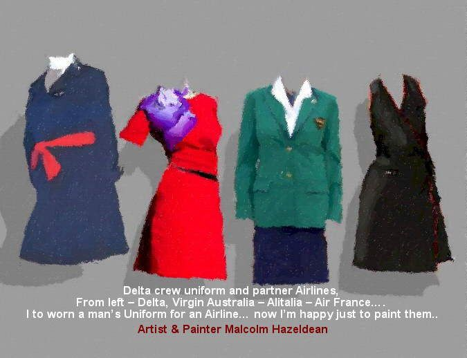 Delta crew uniform and partner Airlines, from left – Delta, Virgin Australia – Alitalia – Air France…. I to worn a man's Uniform for an Airline… now I'm happy just to paint them… https://youtu.be/sSIpA0yewt8 greatvideo@yahoo.com.au