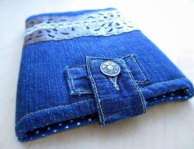 A Kindle case made out of old jeans