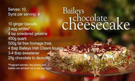 Slimming World Baileys chocolate cheesecake recipe – 4 Syns