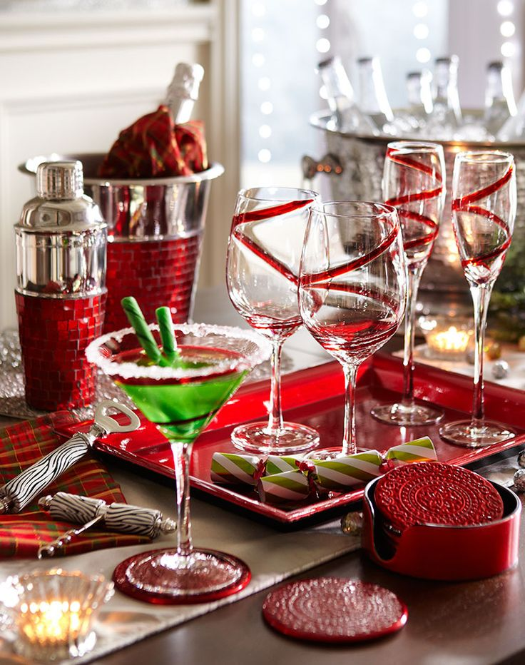 Sugared rims and peppermint stick stirrers. #holidays #entertaining