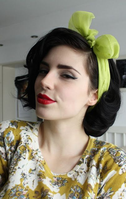 Get the Pin Up look! Vintage Hairstyles:: Pin Up Hair:: Retro Hairstyles:: Pin Up Hair and Makeup:: Retro Headscarves:: Bows
