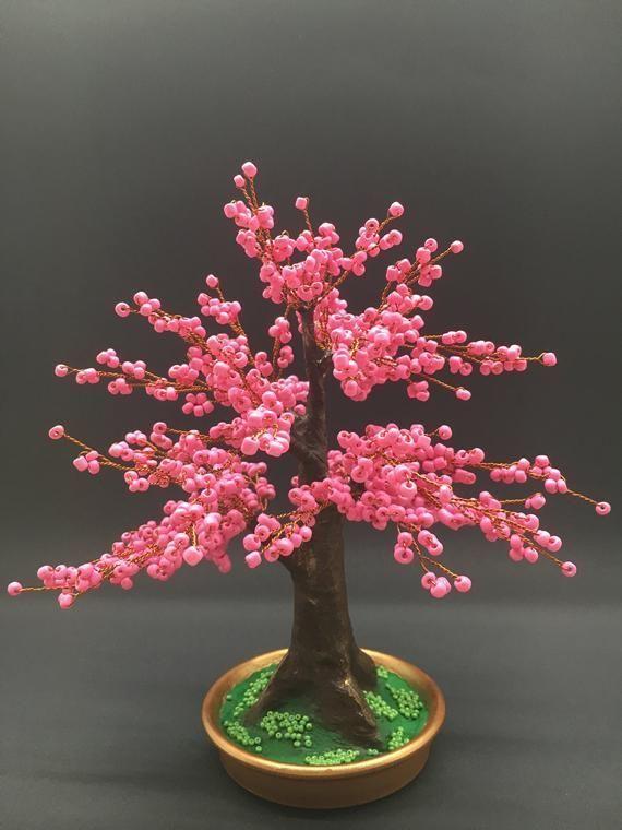 Beaded Blossom Bonsai Bonsai Trees Sculpture Cherry Decor Beaded Blossom Bonsai Cherry Decor Sculpture Tree Garden Gifts Tree Sculpture Bonsai Tree