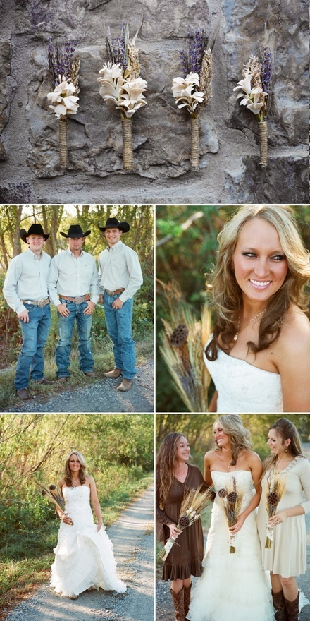 Country wedding photo ideas...groom and groomsmen outfit idea. Black dress shirt, black wranglers, black boots, wedding color vest and tie