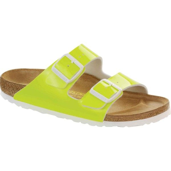 Birkenstock Unisex's Arizona Neon Yellow Patent Birko-Flor Slide... ($100) ❤ liked on Polyvore featuring shoes, sandals, yellow, breathable shoes, slide sandals, yellow patent leather shoes, birkenstock shoes and strappy shoes