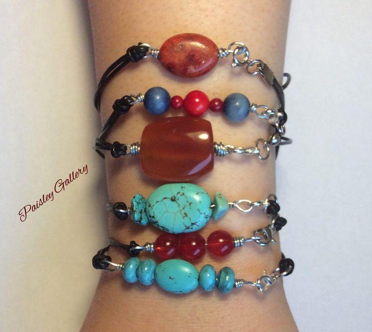 Lilian Beaded & Leather Bracelets, Beaded Bracelets, Good quality Stones, Well designed, Unique, Stylish, Natural leather by PaisleyGI on Etsy