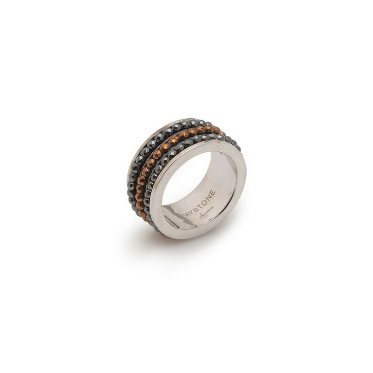 Volans Ring |  Platinum plated Sterling Silver 925 Ring with natural hematite gemstones | #Faystonejewels
