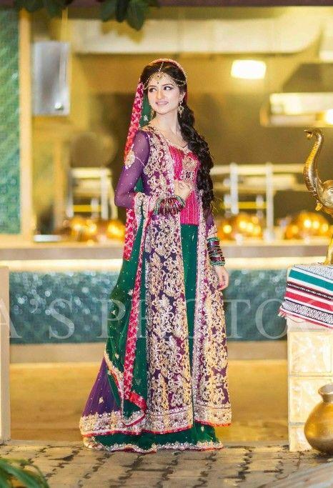 Purple pink and green mehndi dress