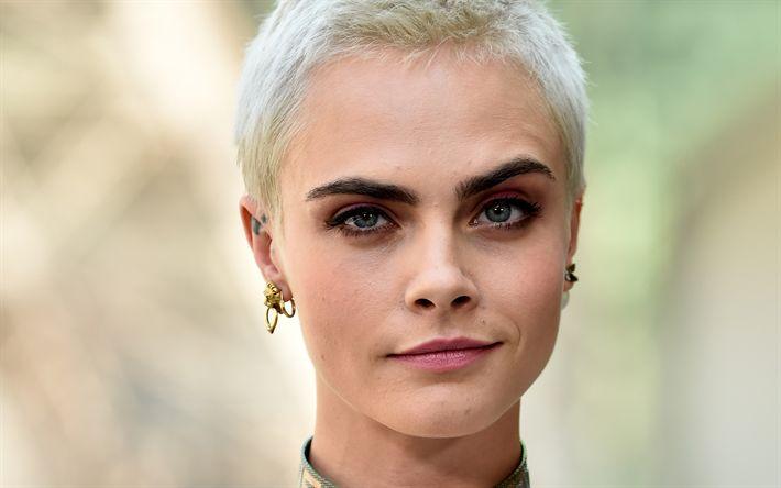 Download wallpapers Cara Delevingne, 2017, 4k, short haircut, blond, beautiful woman, blonde