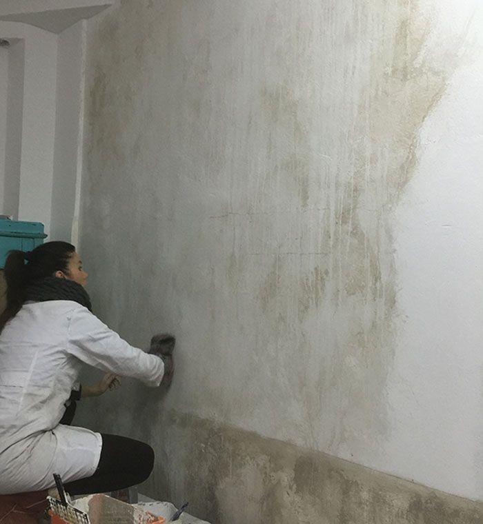 Pared efecto desgastado chimenea pinterest pinturas for Pintura efecto piedra