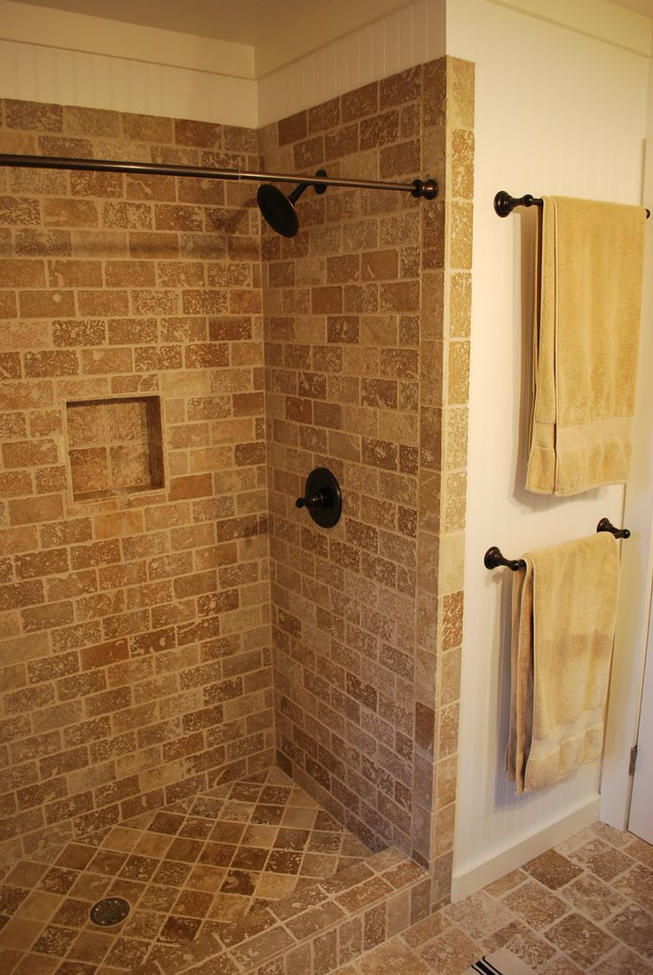Tile shower with curtain rod bathroom inspirations for Tile shower bathroom ideas
