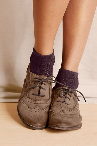 Burgundy Pointelle Bootie Socks and Oxfords