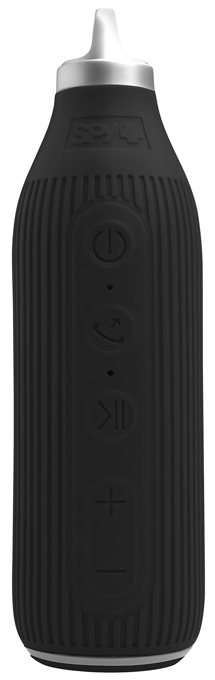 Spy THE BEACON Water-Resistant Bluetooth Speaker with Mic and Controls for Hands-Free Talking, Black. IPX6 water-resistant; 1.2 meters drop-proof. Dual 400mm speaker drivers; Dual passive radiator for enhanced bass and superior sound quality; Rated power 6W; 360 degree surround stereo sound. Molded outer silicone shell for increased durability; Mic and speakerphone for hands-free talking. Built-in 2200 mAh class A high capacity rechargeable lithium battery; 15 Hours of continuous music...