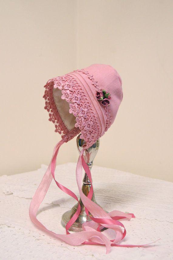$44.00  Woolen Baby Bonnet~ lined with soft flannel. New England Easter bonnet -- vintage baby, warm baby hat, children's winter clothing, pink bonnet, warm Easter bonnet