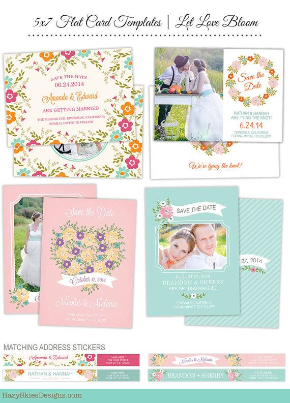 INSTANT DOWNLOAD Save the Date Photo Card Templates & Address Stickers for Photographers - SD2831