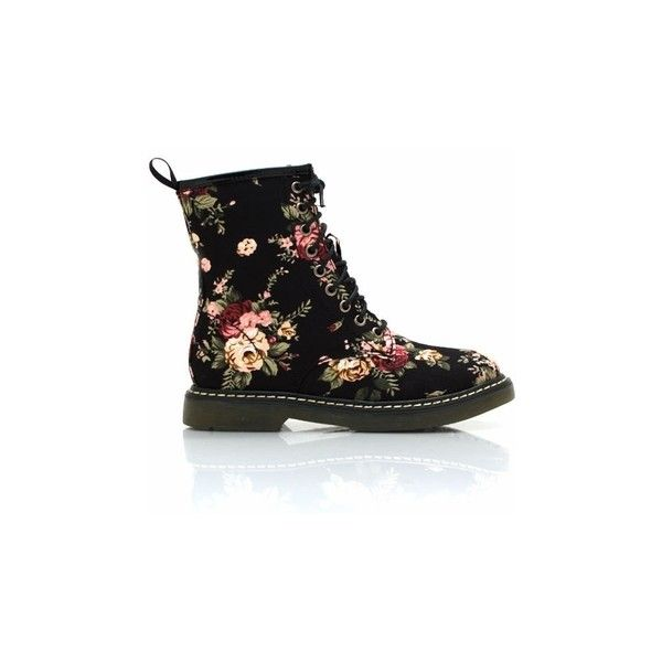 floral combat boots ($38) ❤ liked on Polyvore featuring shoes, boots, ankle booties, ankle boots, lace up ankle boots, high heel combat boots, high heel boots, lace up combat boots and lace up high heel booties