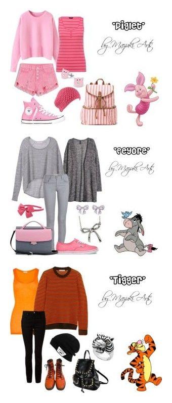 """Winnie the Pooh"" by mazukiarts on Polyvore featuring Candie's, M&Co, Converse, disney, kawaii, winniethepooh, piglet, mazukiarts, H&M and Victoria's Secret"