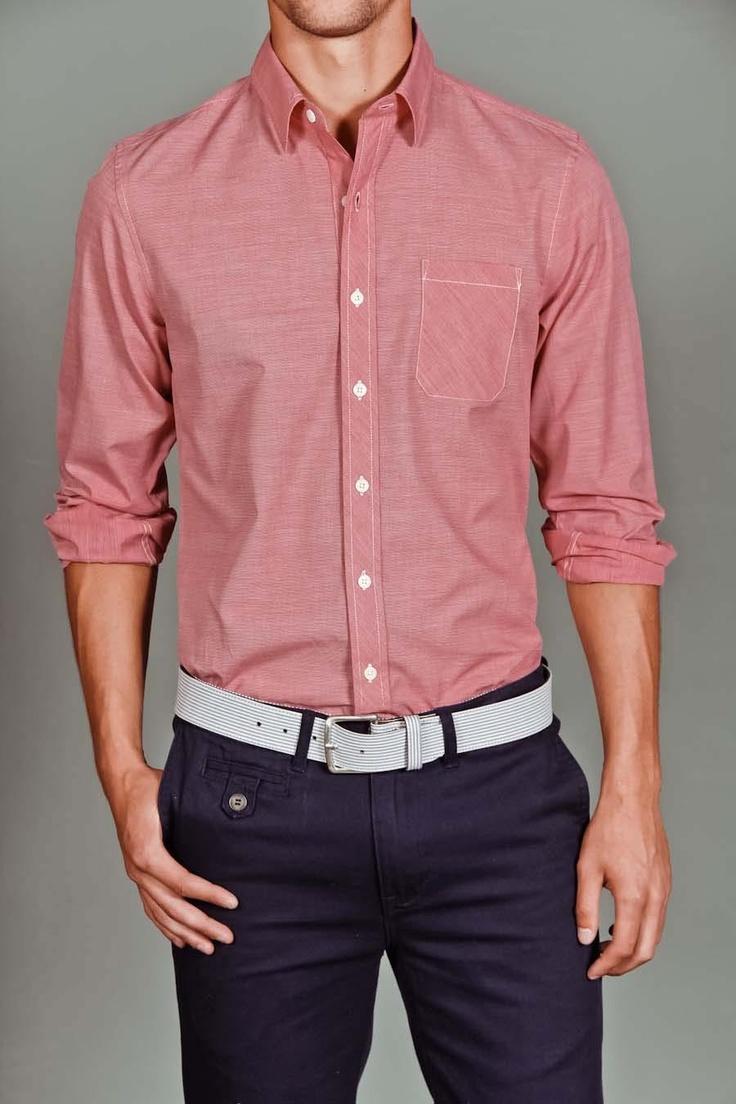 Goodale Tailored Button Down ShirtGoodall Tailored, Tailored Buttons, Chambray Shirts, Men Style, Dresses Shirts, Men Fashion, White Belts, Fashioni Men, Casual Clothing