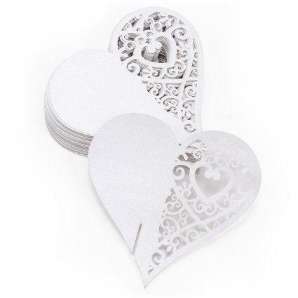 Sonline 50x Carte de verre Porte Nom Marque Place Coeur blanc mariage fete decoration